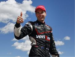 Will Power and his team celebrate his victory in Edmonton.