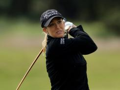 Cristie Kerr of the USA hits an approach shot during the pro-am for the 2011 Ricoh Women's British Open at Carnoustie on Tuesday in Carnoustie, Scotland.