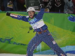 The USA's Jeret Peterson celebrates his second jump in the men's aerial finals which won him a silver medal in 2010.
