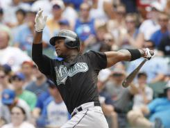 Florida Marlins shortstop Hanley Ramirez hits a  home run against the Chicago Cubs.