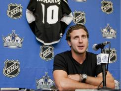 The L.A. Kings introduced Mike Richards during a hockey news conference on Wednesday in El Segundo, Calif. Richards, who was acquired from the Philadelphia Flyers earlier this summer, scored 23 goals during the 2010-11 season.
