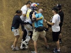 Travis Pastrana was injured after a fall in the Moto X Best Trick Final during Day 1 of X Games 17 at the Staples Center on Thursday.