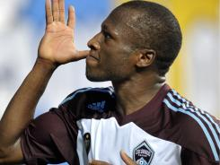 The Colorado Rapids' Sanna Nyassi celebrates his goal against the Philadelphia Union.