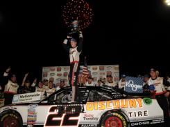 Brad Keselowski led only seven of 204 laps, but it was enough to win the Nationwide Series Kroger 200.
