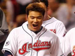 The Indians' Shin-Soo Choo, celebrating a May win,