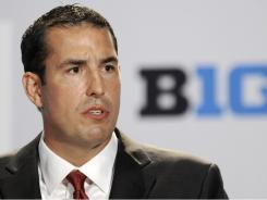 Ohio State head coach Luke Fickell, seen here talking to reporters during Big Ten football media day onThursday, has a big challenge ahead of him in Columbus in 2011.