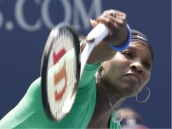 Serena Williams serves up a 7-5, 6-1 victory against Marion Bartoli in the final of the Bank of the West Classic on Sunday in Stanford, Calif.