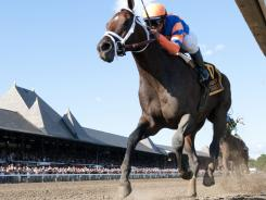 Stay Thirsty, ridden by Javier Castellano, won by four lengths at Saratoga on Saturday.