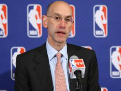 NBA Deputy Commissioner  Adam Silver speaks to the media in June when the league announced a lockout.