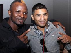 "Since he and Abner Mares, right, are the ones who have reached the bantamweight finals, ""whoever wins is the best bantamweight, no doubt about it,"" says Joseph Agbeko, left."