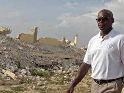 Nine-time Olympic gold medalist Carl Lewis visited Suze Valne Coeur school in June. The school is still damaged by a 2010 earthquake in Leogane, Haiti.