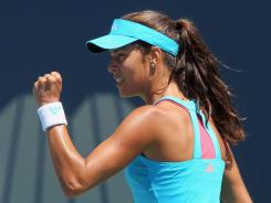 Ana Ivanovic of Serbia celebrates during her victory against Alberta Brianti of Italy during the Mercury Insurance Open on Thursday in Carlsbad, Calif.