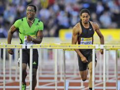 Cuba's Dayron Robles, left, won the 110-meter hurdles during the Diamond League meet at Crystal Palace in London on Friday.