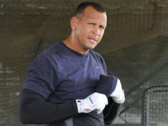New York Yankees hit several home runs during his first batting practice session since undergoing knee surgery on July 14.