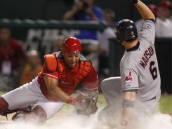 Trailing 4-3 in the ninth innings, the Cleveland Indians rallied with four runs, topping the Texas Rangers 7-4 on Saturday night.