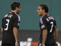 D.C. United's Dwayne De Rosario (7) scored all three United goals in a 3-3 draw with Toronto F.C. Saturday night at RFK Stadium in Washington.