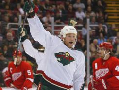 James Sheppard celebrates one of his four goals in his rookie season in 2007-08. He hasn't met expectations yet in the NHL.