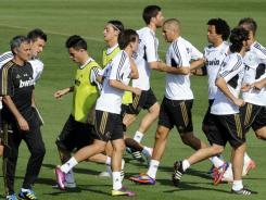 Real Madrid's players take part in a training session in Madrid on July 26.