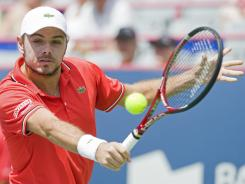 Stanislas Wawrinka of Switzerland opened with a victory Monday against David Nalbandian of Argentina in the first round of the Rogers Cup in Montreal.