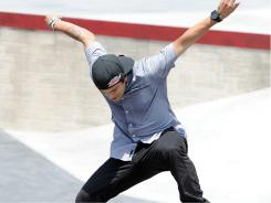 Paul Rodriguez performs a jump in the skateboard street men's elimination during day 2 of the X Games at LA Live on July 29  in Los Angeles.