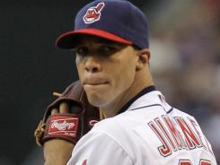 Ubaldo Jimenez  won in his home debut for the Indians with six strike outs over eight innings.