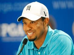 Tiger Woods talks about his game, his chances and his split with Steve Williams during a news conference Wednesday at the PGA Championhips.