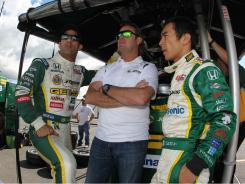 Tony Kanaan, left, and Takuma Sato, right, were among the fastest five cars during IndyCar practice at New Hampshire Motor Speedway.