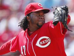 Johnny Cueto threw seven innings of shutout ball against the Rockies at Great American Ball Park in Cincinnati on Thursday. The Reds won 2-1.