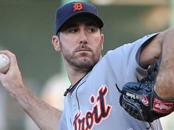 Justin Verlander allowed three hits and struck out 10 in seven innings against the Indians on Thursday to earn career win No. 100 at  Progressive Field in Cleveland.