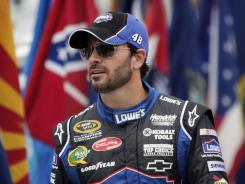 """Jimmie Johnson says he thought his feud with Kurt Busch was settled and then """"the guy gets real tough"""" and starts """"running his mouth."""""""