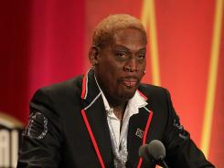 Dennis Rodman, along with Chris Mullin, headlined the induction class at  the Basketball Hall of Fame enshrinement ceremony Friday at Symphony Hall in Springfield, Mass.