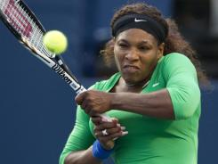 Serena Williams of the USA advances to the semifinals of the Rogers Cup in Toronto on Friday with a victory against Lucie Safarova of the Czech Republic.