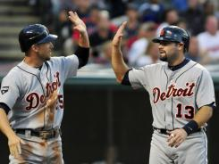 Alex Avila, right, celebrating with teammate Ryan Raburn, was recognized for his stellar season by being named the starting catcher for the AL in the All-Star Game in July.