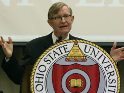 """Ohio State University president E. Gordon Gee made headlines when he said his school's football team doesn't """"play the Little Sisters of the Poor."""" Gee visited the religious order on Wednesday to make amends."""