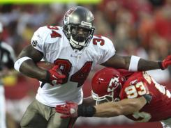 Tampa Bay Buccaneers running back Earnest Graham, left, is one of three Tampa Bay Buccaneers over 30.