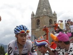In this file photo from July, Tom Danielson  climbs Alpe d'Huez during the 19th stage of the Tour de France.