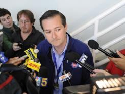 Tom Ricketts, chairman of the Cubs, talks with the media about the firing of GM Jim Hendry.