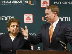 Miami President Donna Shalala, with athletic director Shawn Eichorst, says that the school is looking into the eligibility of 15 Hurricane athletes.