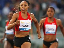 Allyson Felix wins the women's 400 at the IAAF Compeed Golden Gala at Stadio Olimpico on May 26 in Rome.
