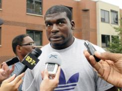 Pittsburgh Steelers linebacker Lawrence Timmons speaks to the media as he reports to training camp in July.