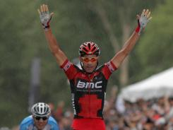 George Hincapie won the crash-marred, 130.3-mile ride from Gunnison to Aspen in 5 hours, 26 minutes, 10 seconds.