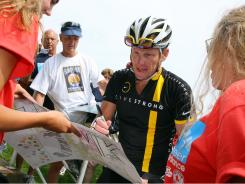 Lance Armstrong attends the 2011 Pan-Massachusetts Challenge on Aug. 6 in Bourne, Mass.