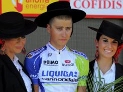 Slovakian Peter Sagan  of Liquigas-Cannondale celebrates winning the sixth stage of the Vuelta on the podium in Cordoba on Thursday.