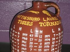 Hattiesburg and Laurel play for the Little Brown Jug in the longest continously running high school football rivalry in Mississippi.