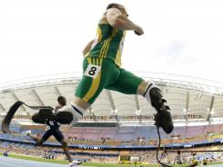 South Africa's Oscar Pistorius competes in a heat of the men's 400-meter race at the World Athletics Championships in Daegu, South Korea.