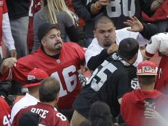 Aug. 20:  Fans fight in the stands in San Francisco during a 49ers-Raiders preseason game. Two men were shot outside the stadium afterward. There were 70 ejections, 12 arrests and a restroom beating.