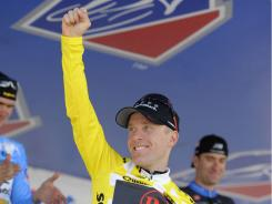 Levi Leipheimer celebrates after winning the USA Pro Cycling Challenge on Sunday in Denver.