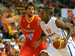 NBA stars Pau Gasol, of Spain, left, and Boris Diaw, of France, will lead their respective countries in the FIBA Europe Championship that begins Wednesday in Lithuania.