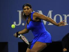 Serena Williams hits a forehand during her 6-1, 6-1 win over Serbia's Bojana Jovanovski in the first round.