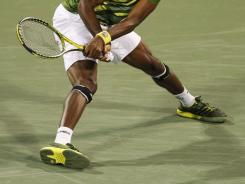 These are the sliding feet of Gael Monfils of France, one of the best athletes on tour, and, according to him, the best at sliding into shots on hardcourts.
